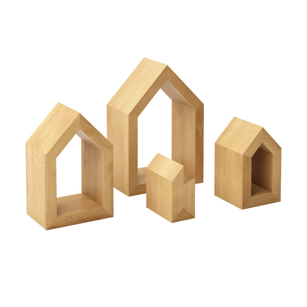 3d model Four Houses Wooden Decoration by Mad Lab
