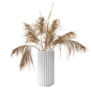 White Lyngby Vase 25 cm with Dried Pampas by Lyngby Porcelaen